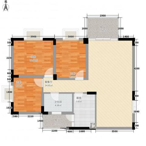 城市花园3室1厅1卫1厨107.00㎡户型图