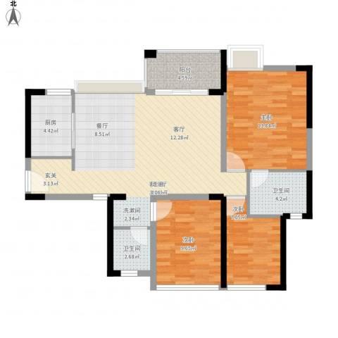 万科金悦香树3室1厅2卫1厨110.00㎡户型图