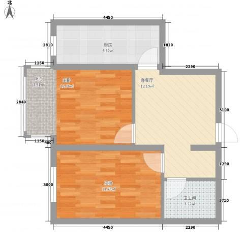 宜家观澜2室1厅1卫1厨66.00㎡户型图