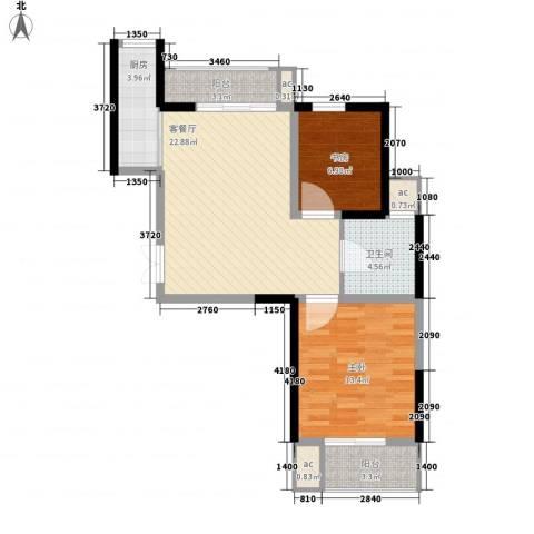 汇林阁2室1厅1卫1厨60.07㎡户型图