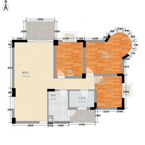 城市花园3室1厅1卫1厨110.00㎡户型图