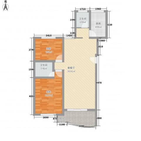 望兴家园2室1厅2卫1厨104.00㎡户型图