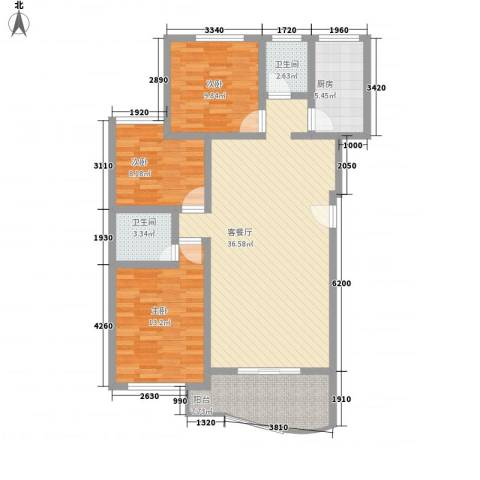 望兴家园3室1厅2卫1厨124.00㎡户型图