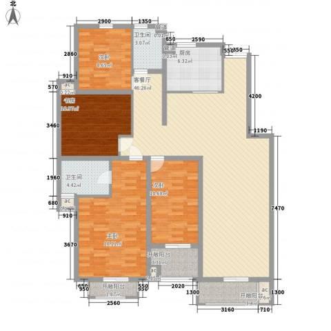 紫御美墅4室1厅2卫1厨169.00㎡户型图