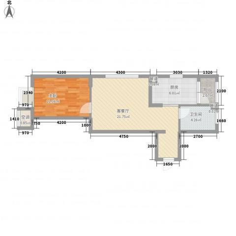 名流印象1室1厅1卫1厨67.00㎡户型图
