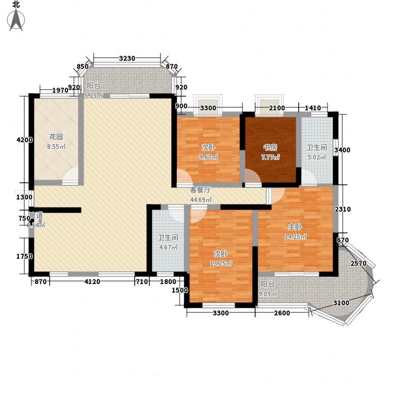 永祺西京二期160.00㎡花园4户型4室2厅2卫