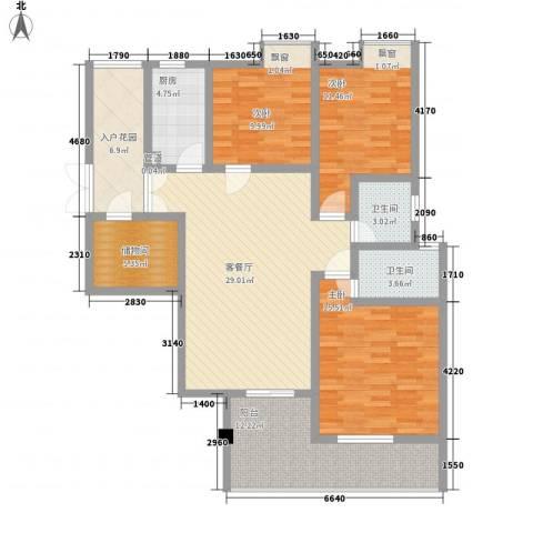 元一时代花园3室1厅2卫1厨130.00㎡户型图