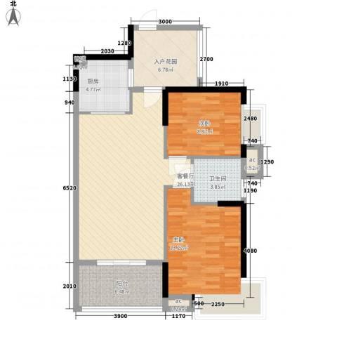 广电江湾新城2室1厅1卫1厨94.00㎡户型图