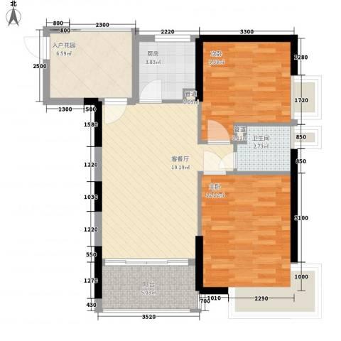 望族家园2室1厅1卫1厨59.09㎡户型图