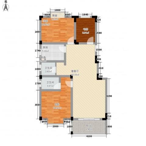 麓山里3室1厅2卫1厨106.00㎡户型图