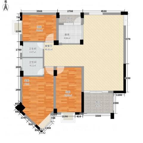 城市花园3室1厅2卫1厨138.00㎡户型图
