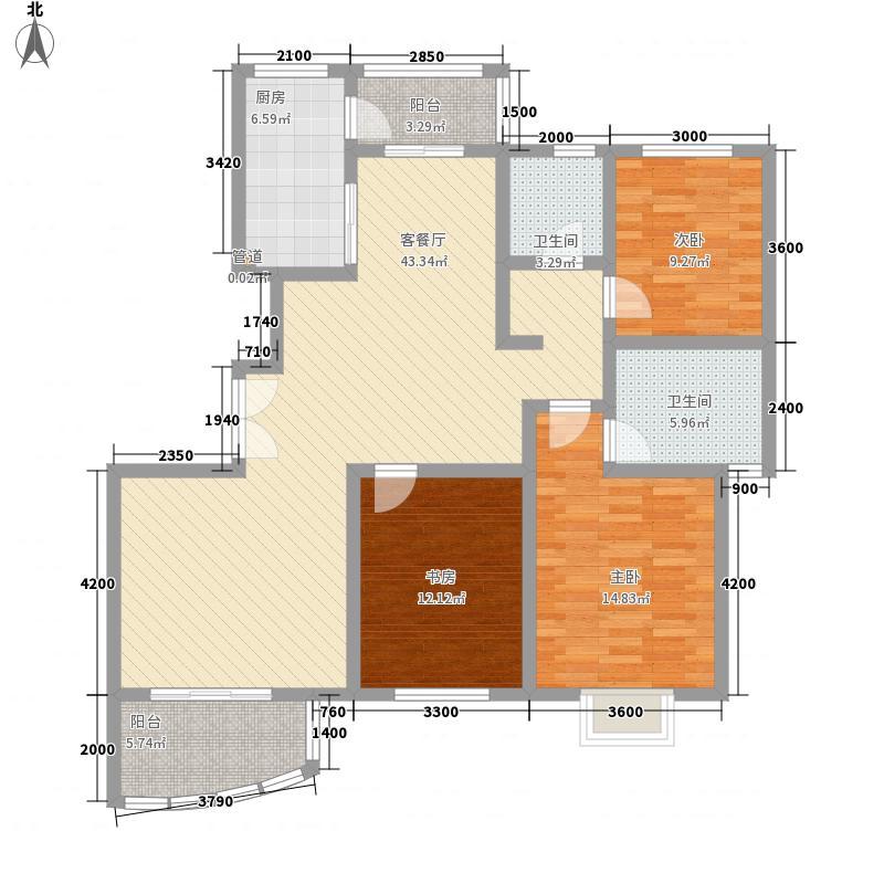 鸿运润园147.56㎡E2-2户型3室2厅2卫1厨