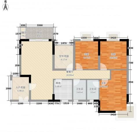 地质家园项目3室1厅2卫1厨132.00㎡户型图