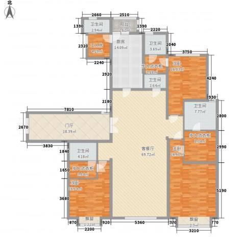 西安大明宫万达公馆3室1厅5卫1厨255.00㎡户型图