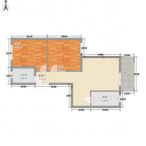 伟邦新西城2室1厅1卫1厨95.00㎡户型图