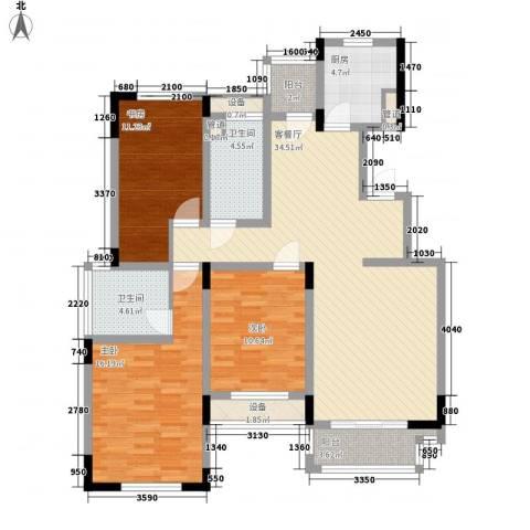 中天品园别墅3室1厅2卫1厨140.00㎡户型图
