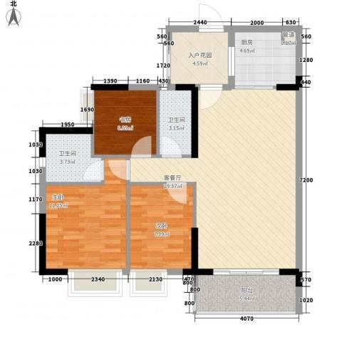 金海怡景花园3室1厅2卫1厨86.79㎡户型图