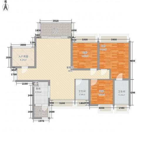 太平广场花园3室1厅2卫1厨99.12㎡户型图