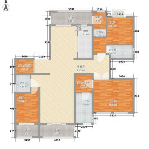 中环城紫荆公馆3室1厅4卫1厨240.00㎡户型图