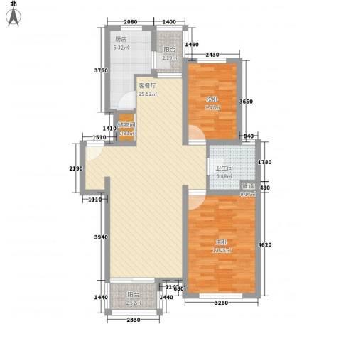 证大家园四期2室1厅1卫1厨96.00㎡户型图