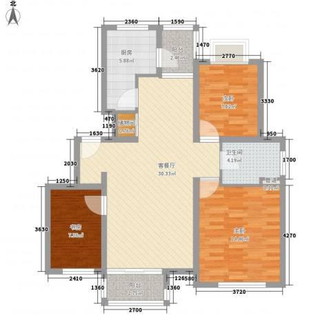 证大家园四期3室1厅1卫1厨110.00㎡户型图