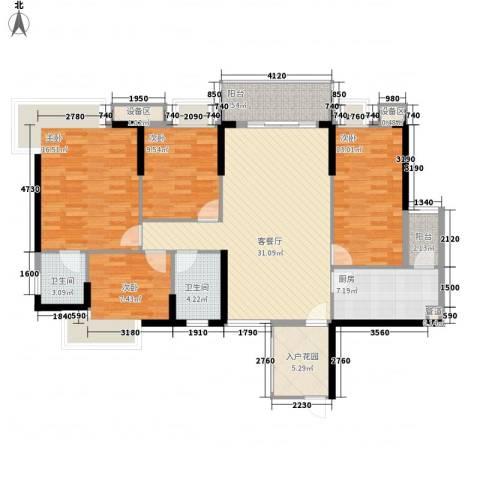 金海怡景花园4室1厅2卫1厨120.50㎡户型图