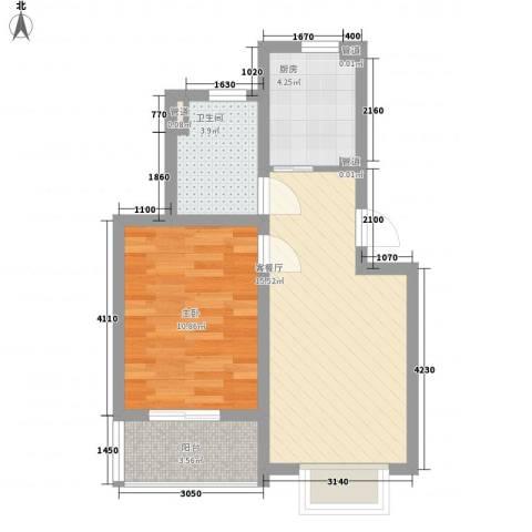 共富新家园1室1厅1卫1厨56.00㎡户型图