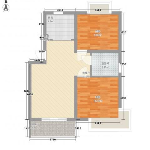 嘉骏香山苑2室1厅1卫1厨64.00㎡户型图