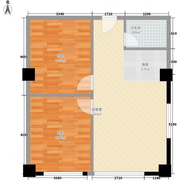 天银大厦81.39㎡H户型81.39㎡户型2室1厅1卫1厨