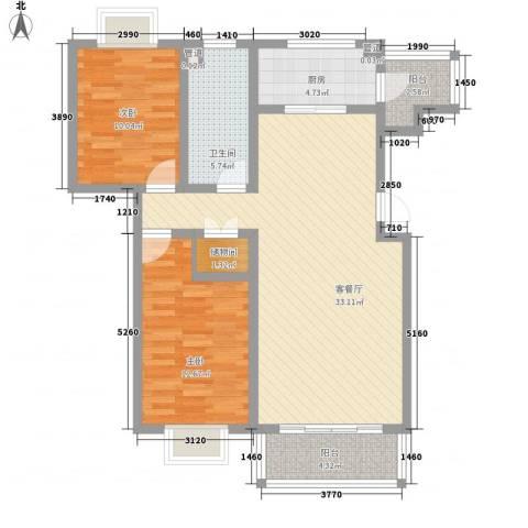 保利百合花园2室1厅1卫1厨109.00㎡户型图