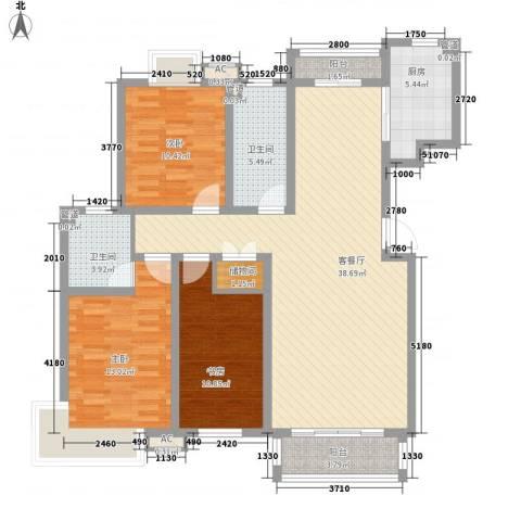 保利百合花园3室1厅2卫1厨139.00㎡户型图