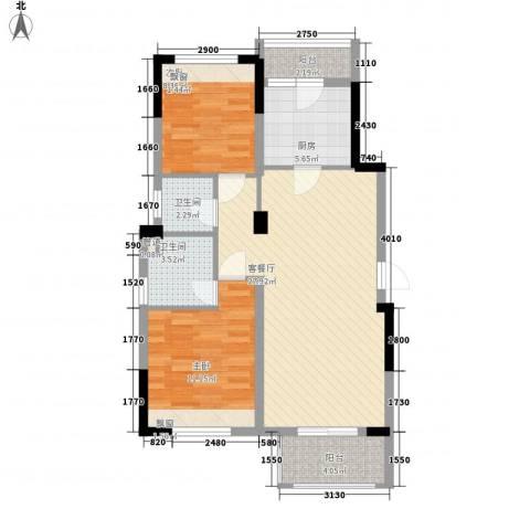 花样年江山2室1厅2卫1厨84.00㎡户型图