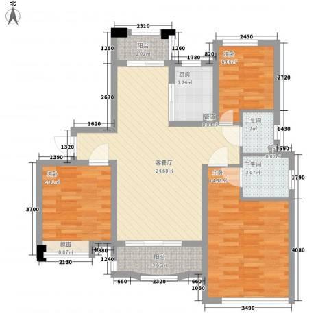 中央公馆海德堡3室1厅2卫1厨99.00㎡户型图