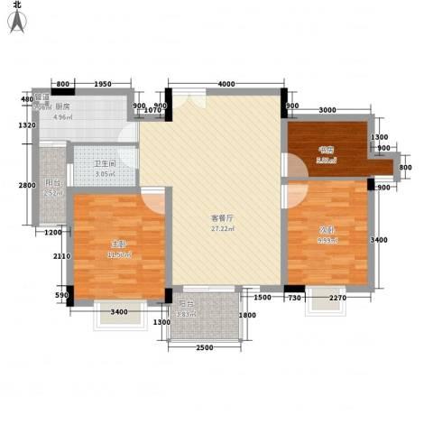 城市花园3室1厅1卫1厨94.00㎡户型图