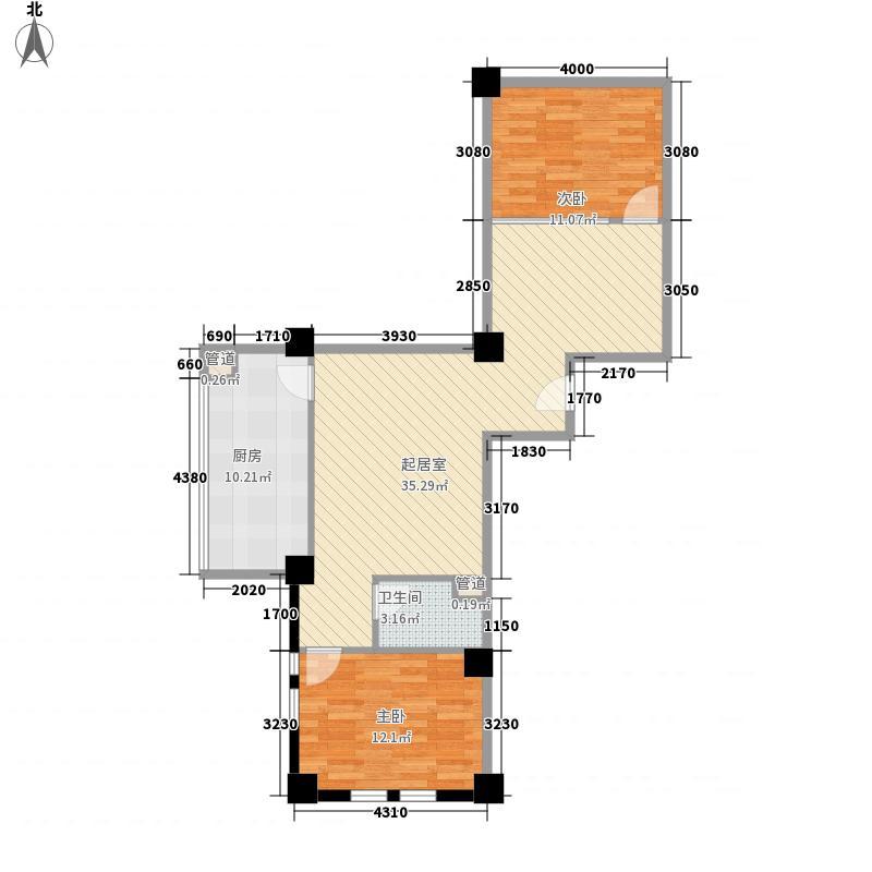 天银大厦112.90㎡A1户型112.9㎡户型2室2厅1卫1厨