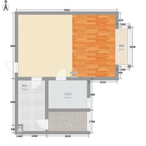 中央公馆海德堡1厅1卫1厨78.00㎡户型图