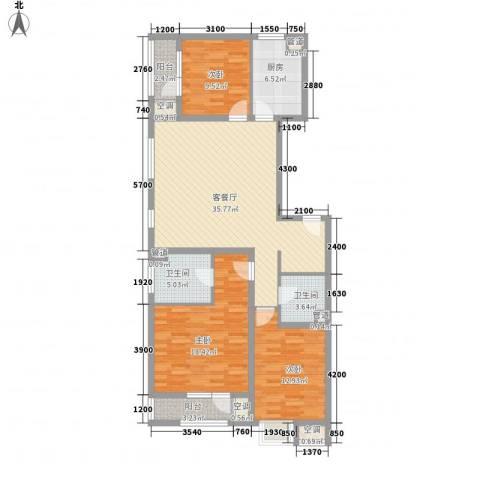 名流印象3室1厅2卫1厨144.00㎡户型图