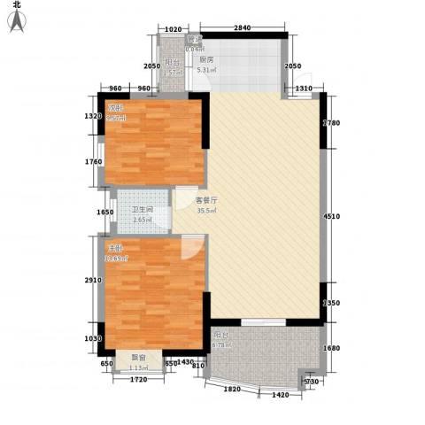 中央公馆海德堡2室1厅1卫0厨86.00㎡户型图