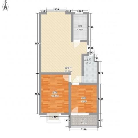 汇源华庭2室1厅1卫1厨95.00㎡户型图