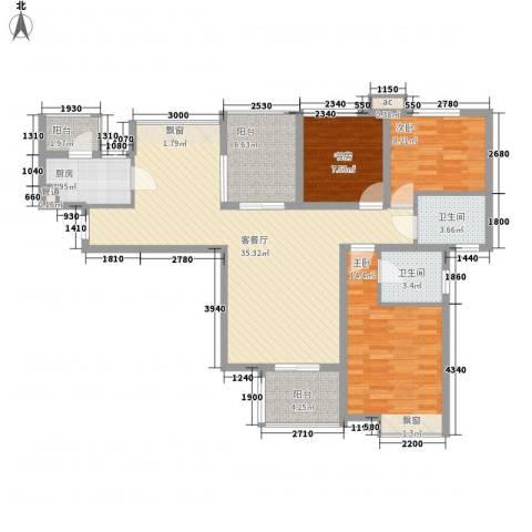 中海观园3室1厅2卫1厨133.00㎡户型图