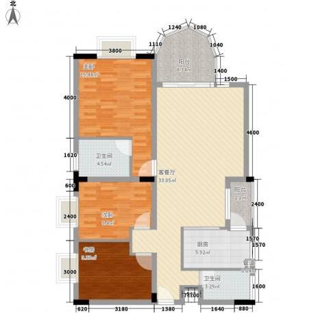 城市花园3室1厅2卫1厨117.00㎡户型图