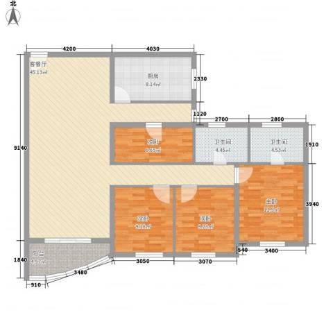 兴联大厦4室1厅2卫1厨147.00㎡户型图