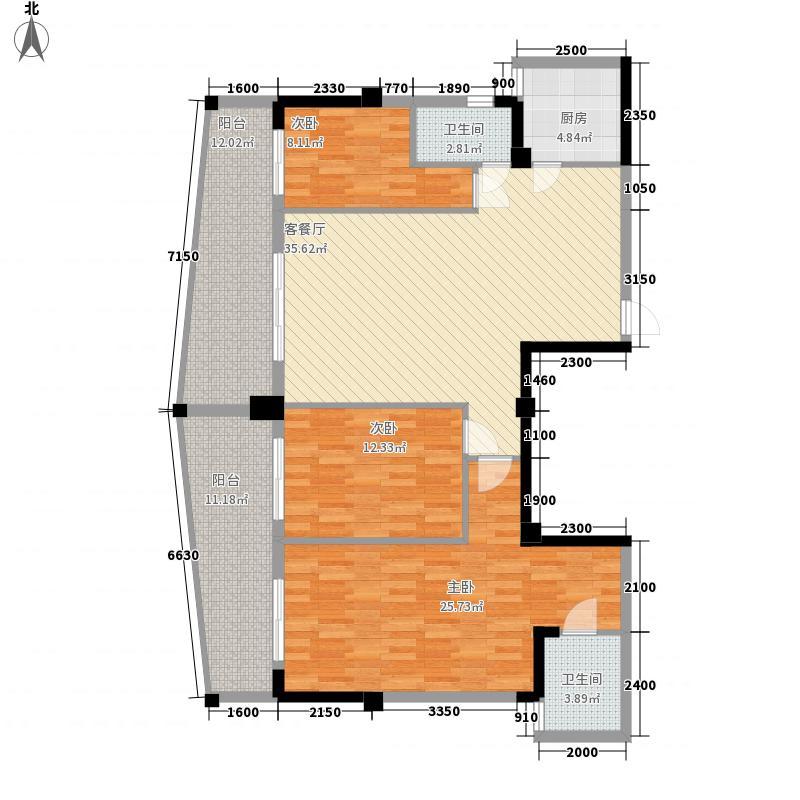 水岸华府137.33㎡1#楼02号房户型3室2厅2卫1厨