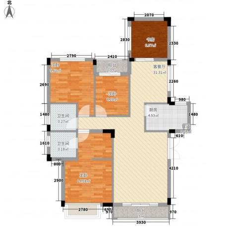 中铁逸都国际4室1厅2卫1厨120.00㎡户型图