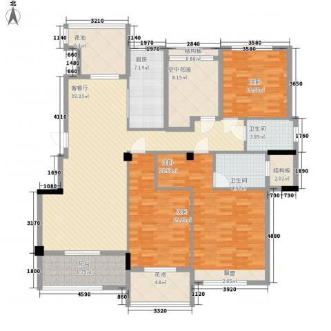 观澜御�台3室1厅2卫1厨139.00㎡户型图