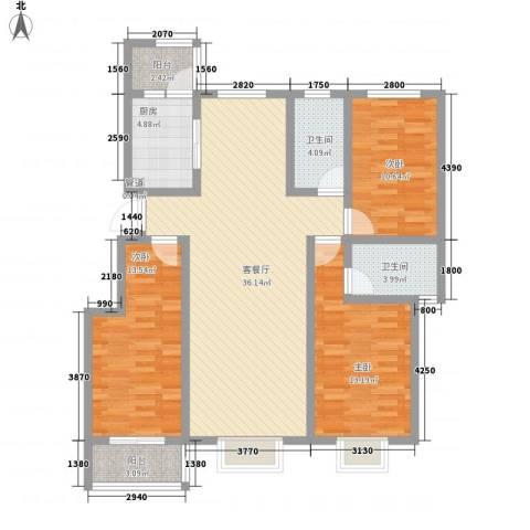 阳光・清城3室1厅2卫1厨134.00㎡户型图