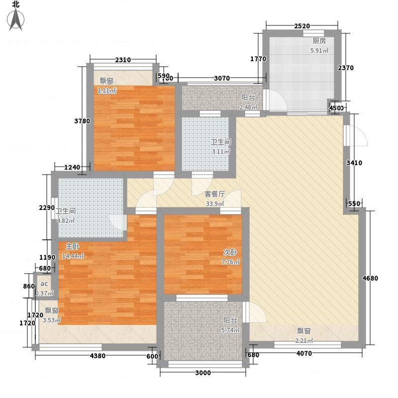 天润城120.00㎡GA户型3室2厅2卫1厨