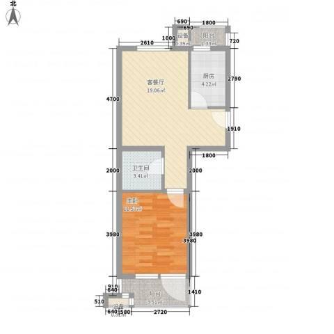 华贸公园郡1室1厅1卫1厨64.00㎡户型图
