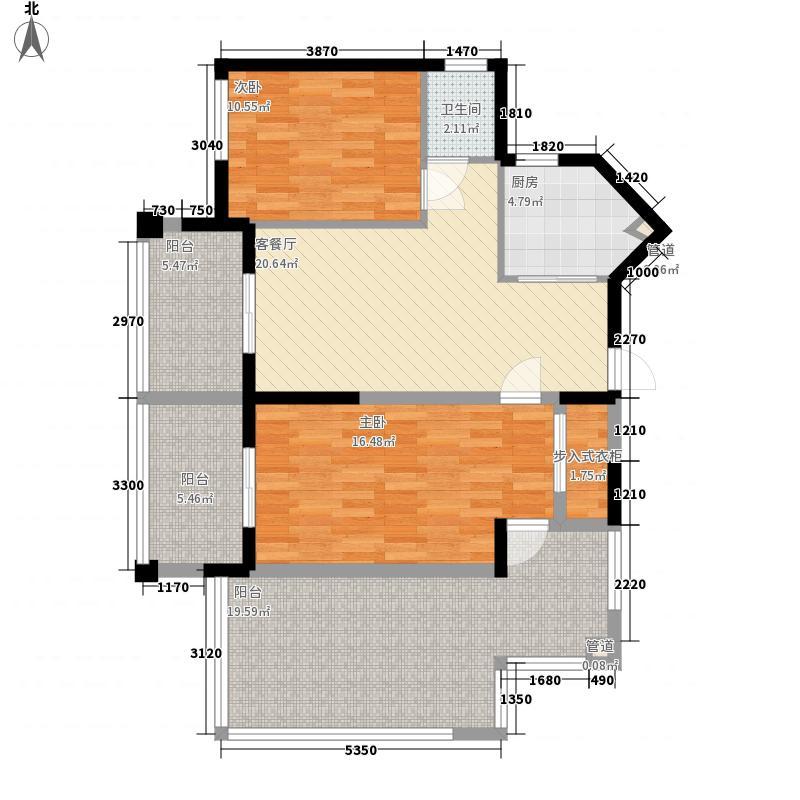 中央绿园8.36㎡1#楼K-1户型2室2厅1卫1厨