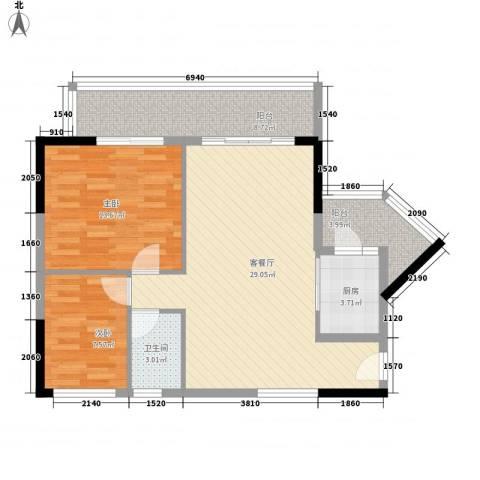 明日华府2室1厅1卫1厨69.73㎡户型图